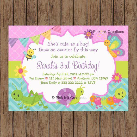 CUTE As A BUG Birthday Invitation Garden Spring Bug Bi