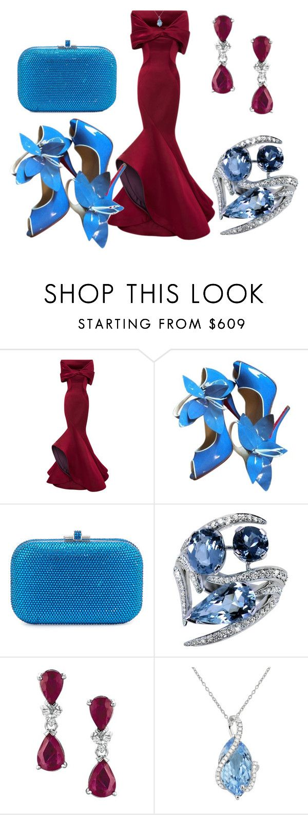 """""""priceless"""" by theglue on Polyvore featuring Zac Posen, Christian Louboutin, Judith Leiber, Shaun Leane, Effy Jewelry, women's clothing, women, female, woman and misses"""