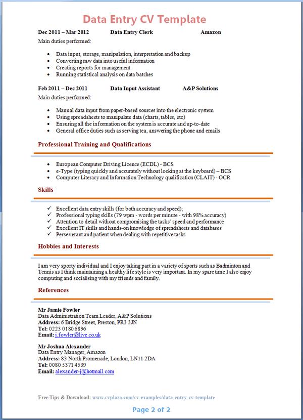 Cv Template Excel Cvtemplate Excel Template Resumetemplatesfree