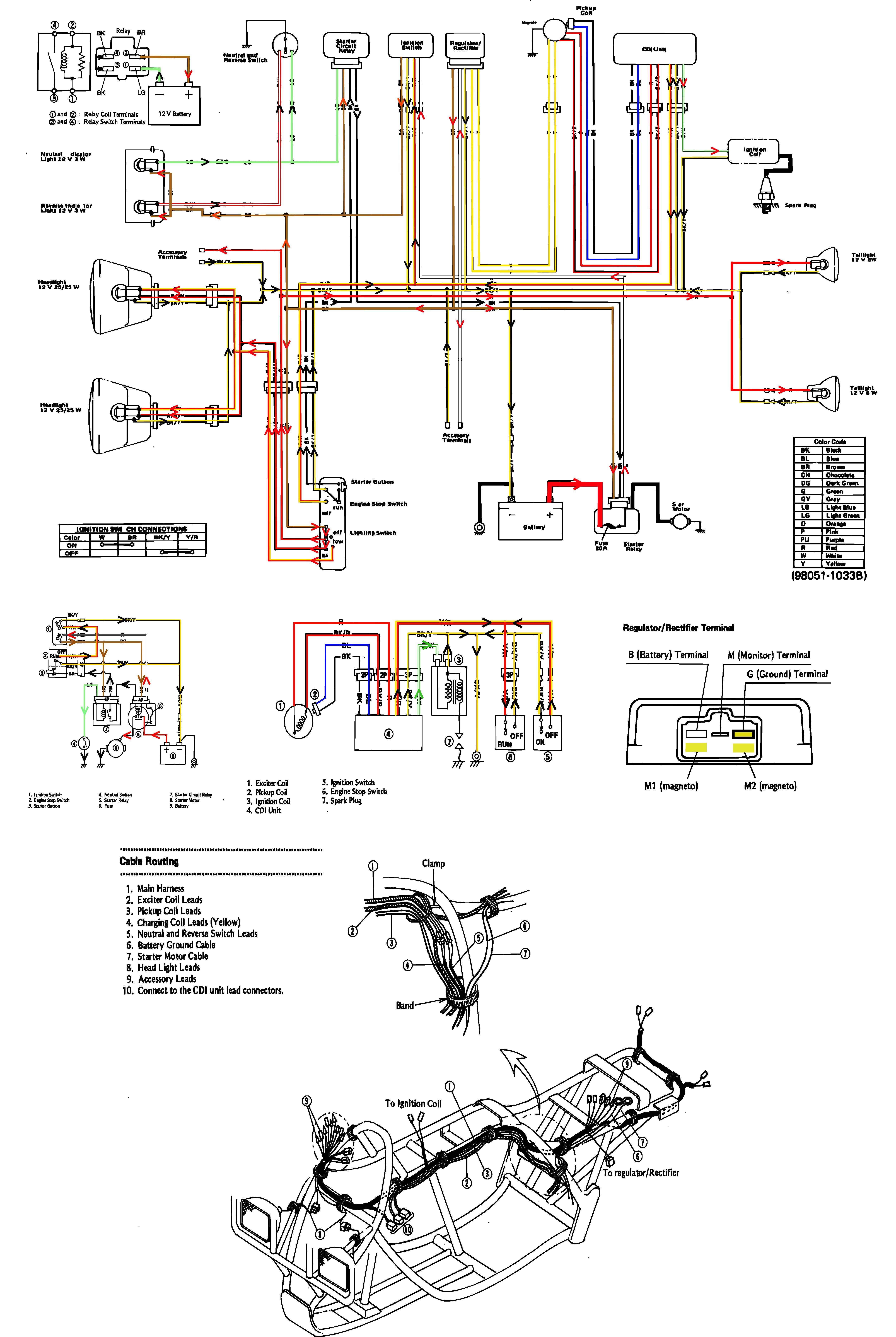 kawasaki 1988 KLF220A1 Bayou Wiring Diagram | Atvs | Atv