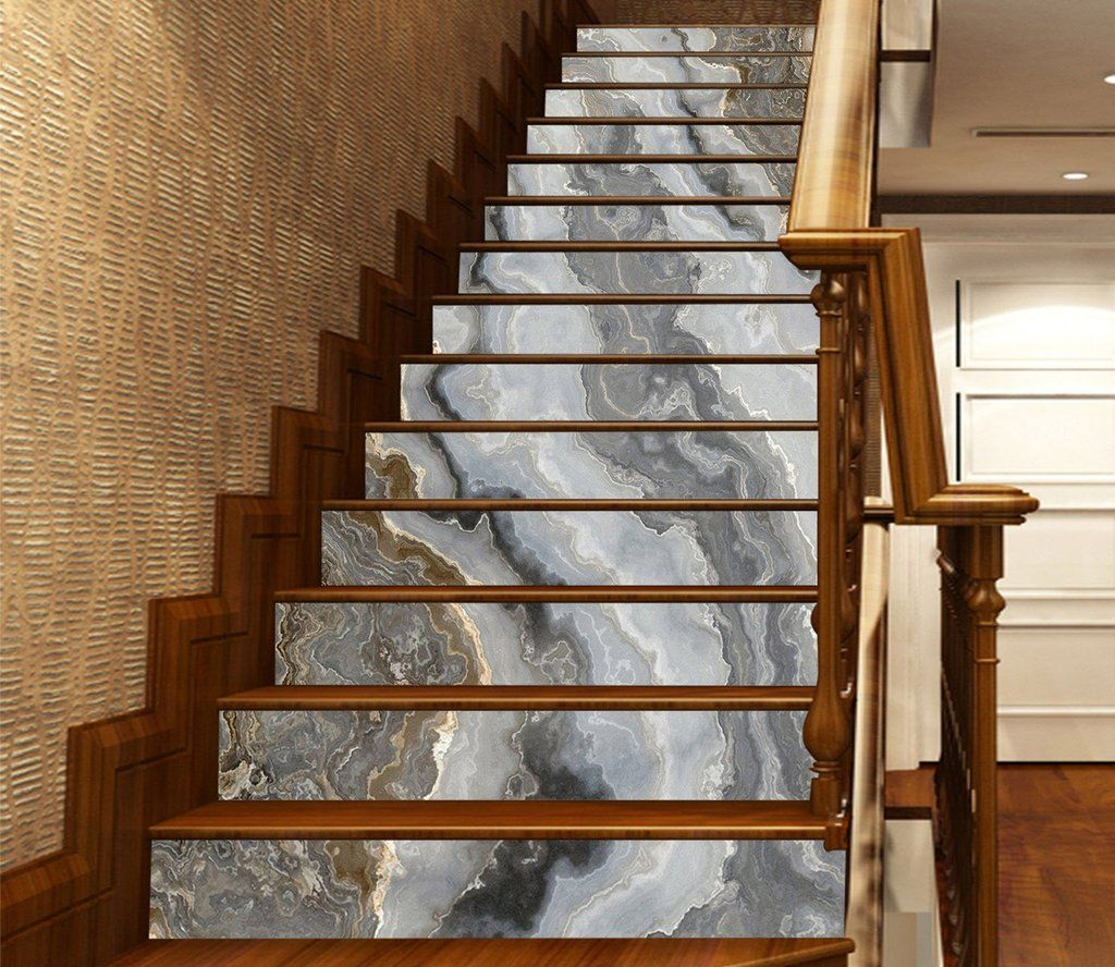 Best 3D Grey River 875 Marble Tile Texture Stair Risers Aj 400 x 300