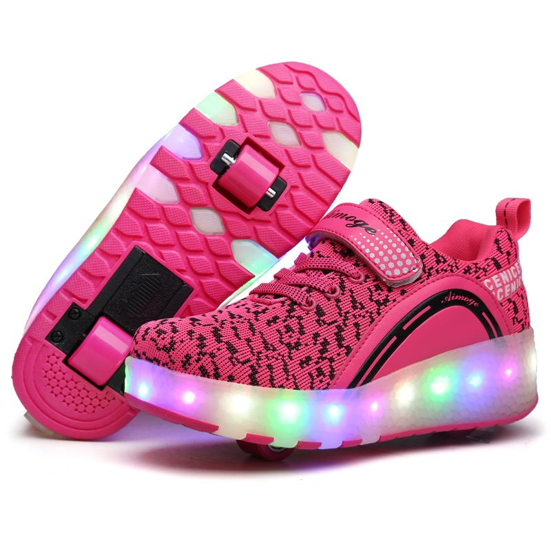 Breathable Kids Shoes LED Lights Sneaker Children Roller Skate Shoes with  Wheels Kids Sneakers with Led