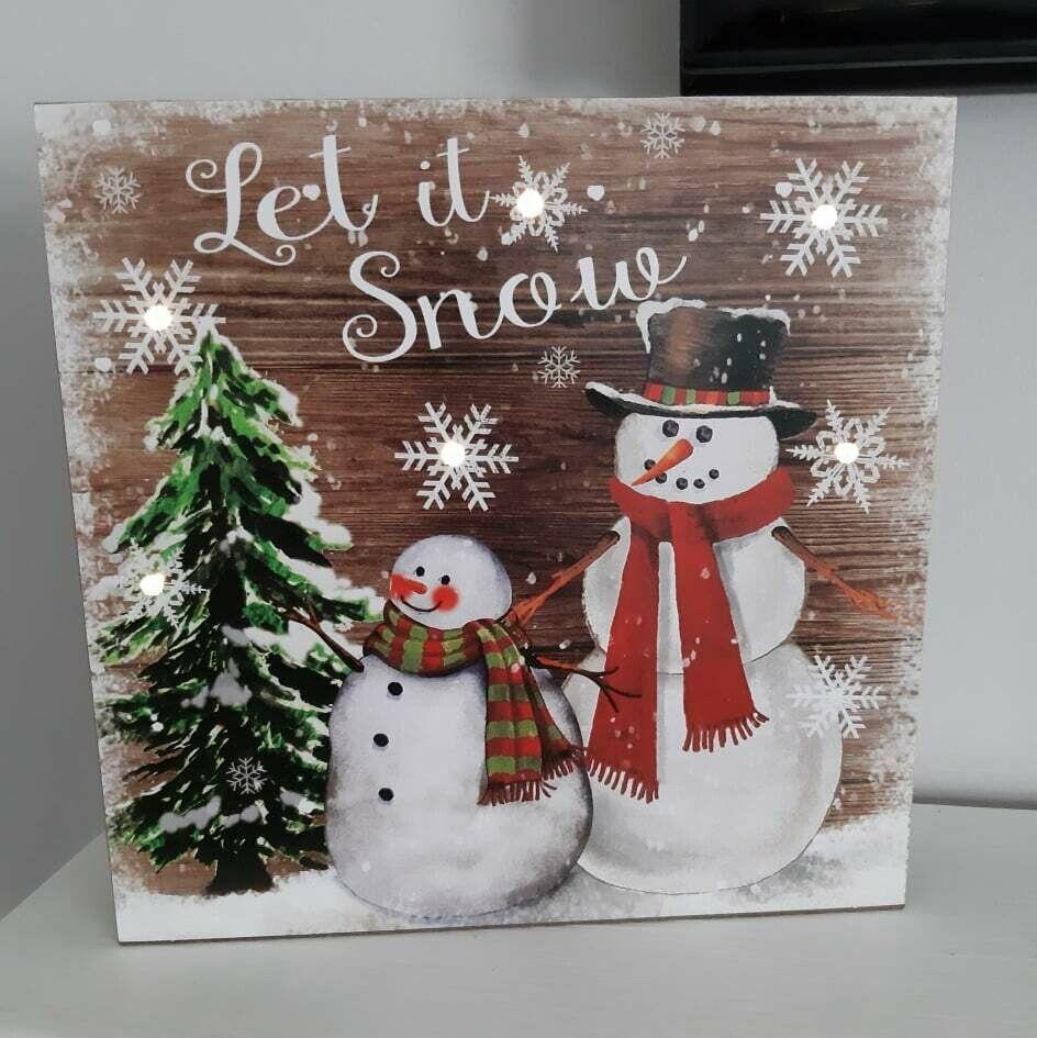 Led Let It Snow Christmas Snowman Box Plaque In 2020 Snow Decorations Christmas Snowman Let It Snow