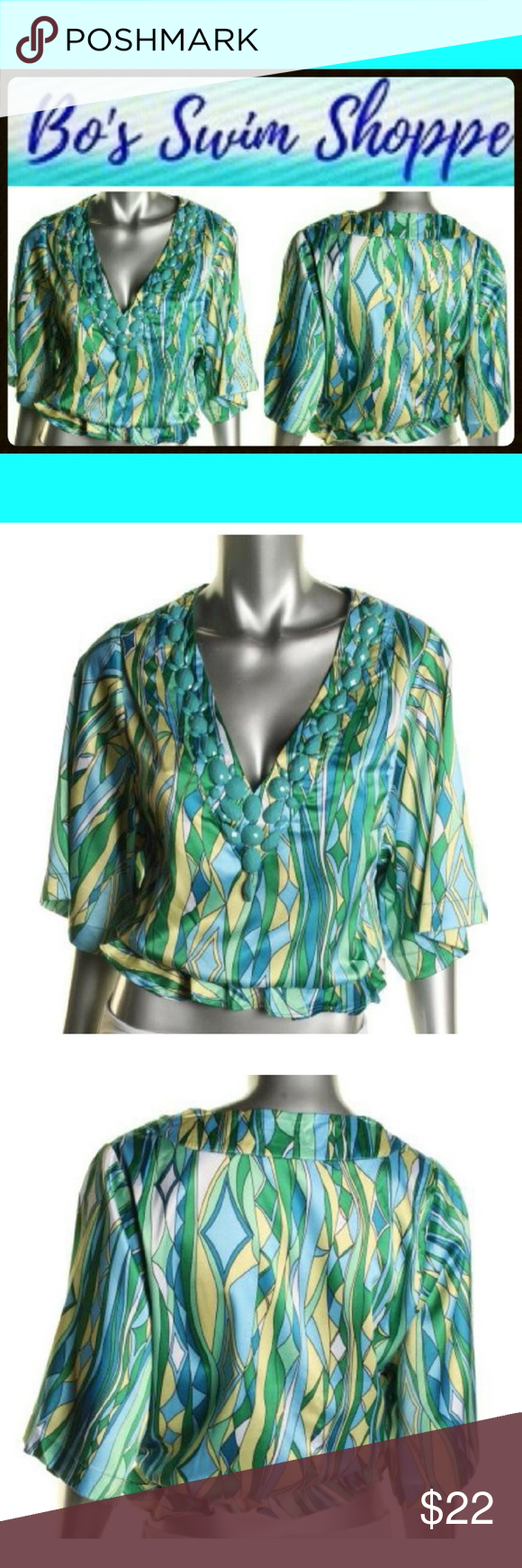 Rachel Lym Green Embellished Cover-Up Top NWT Luxurious satin Beach / Pool / Swimwear, Resortwear. Gorgeous beaded v-neckline details and a light luster highlight this blouse from Rachel Lym. An elastic hem finish this beautiful blouse. BRAND NEW WITH TAGS STILL IN ORIGINAL PACKAGING. WELCOME TO BO'S SWIM SHOPPE: BUY 2 SWIM ITEMS AND GET 25% OFF or  BUY 3 OR MORE ITEMS FROM MY ENTIRE SHOP AND GET 20% OFF. Rachel Lym Tops Coverups