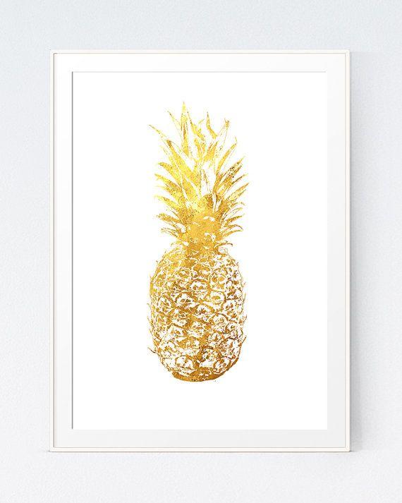 Gold Pineapple California Print Minimalist Art Modern Home ...