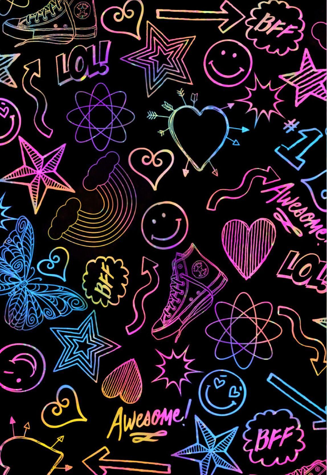 Neon Doodles Wallpaper Androidwallpaper Iphonewallpaper Glitter Sparkle Galaxy Butterflies Stars Hearts Neon Wallpaper Galaxy Wallpaper Etsy Wall Art
