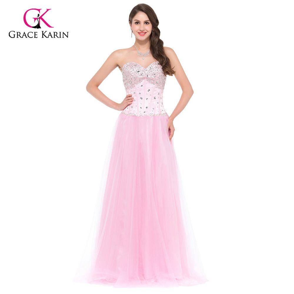 Long Evening Dresses 2017 Grace Karin White Blue Pink Women Corset ...