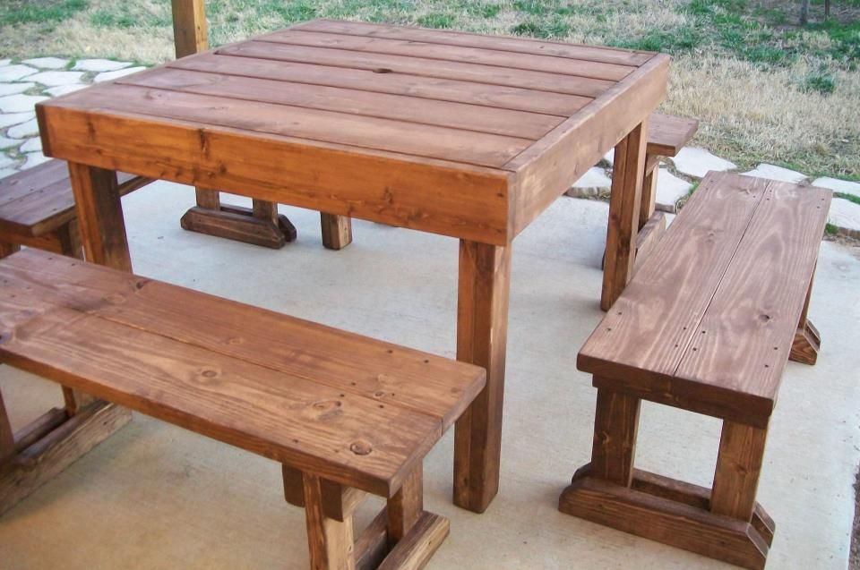 Detached square wood picnic table patio furniture for 12 foot picnic table
