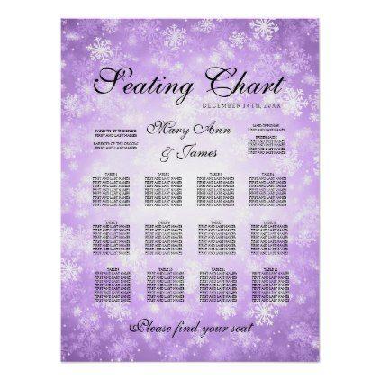 Wedding Seating Chart Purple Winter Wonderland