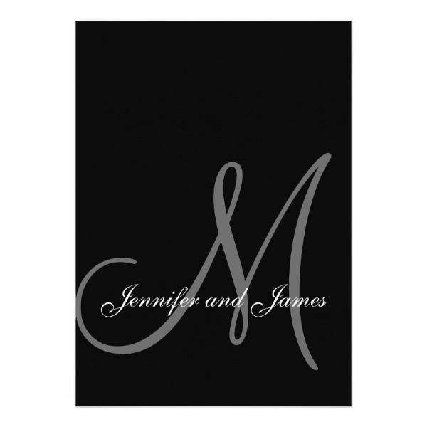 Elegant Black White Wedding Invitations Initial   Zazzle.com