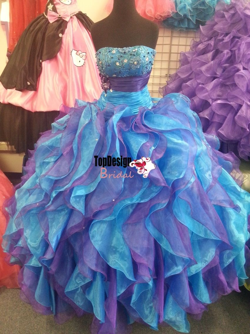 d08f5ba6325 Wholesale 2016 new sweet 15 dress Blue and purple crystal applique ruffled  organza quinceanera dress