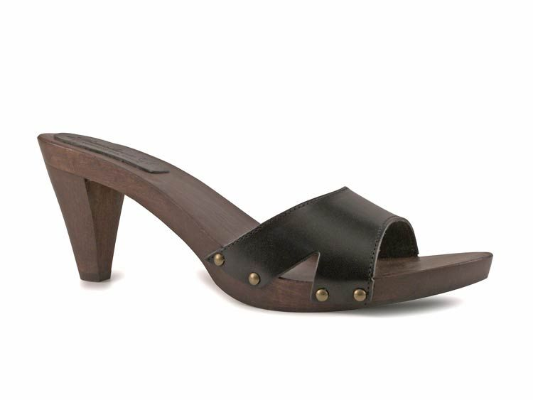 Gianluca womens black leather wooden heels clogs made in Italy - Italian Boutique $53