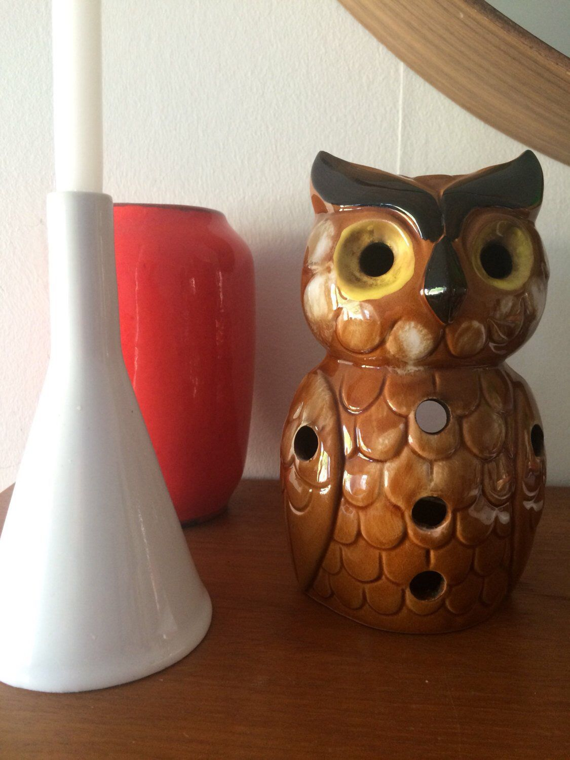 Vintage Mid Century Kameyama Ceramic Owl Lantern The Silky Weasel Vintage Patio Decor Lighted Centerpieces Outdoor Patio Decor