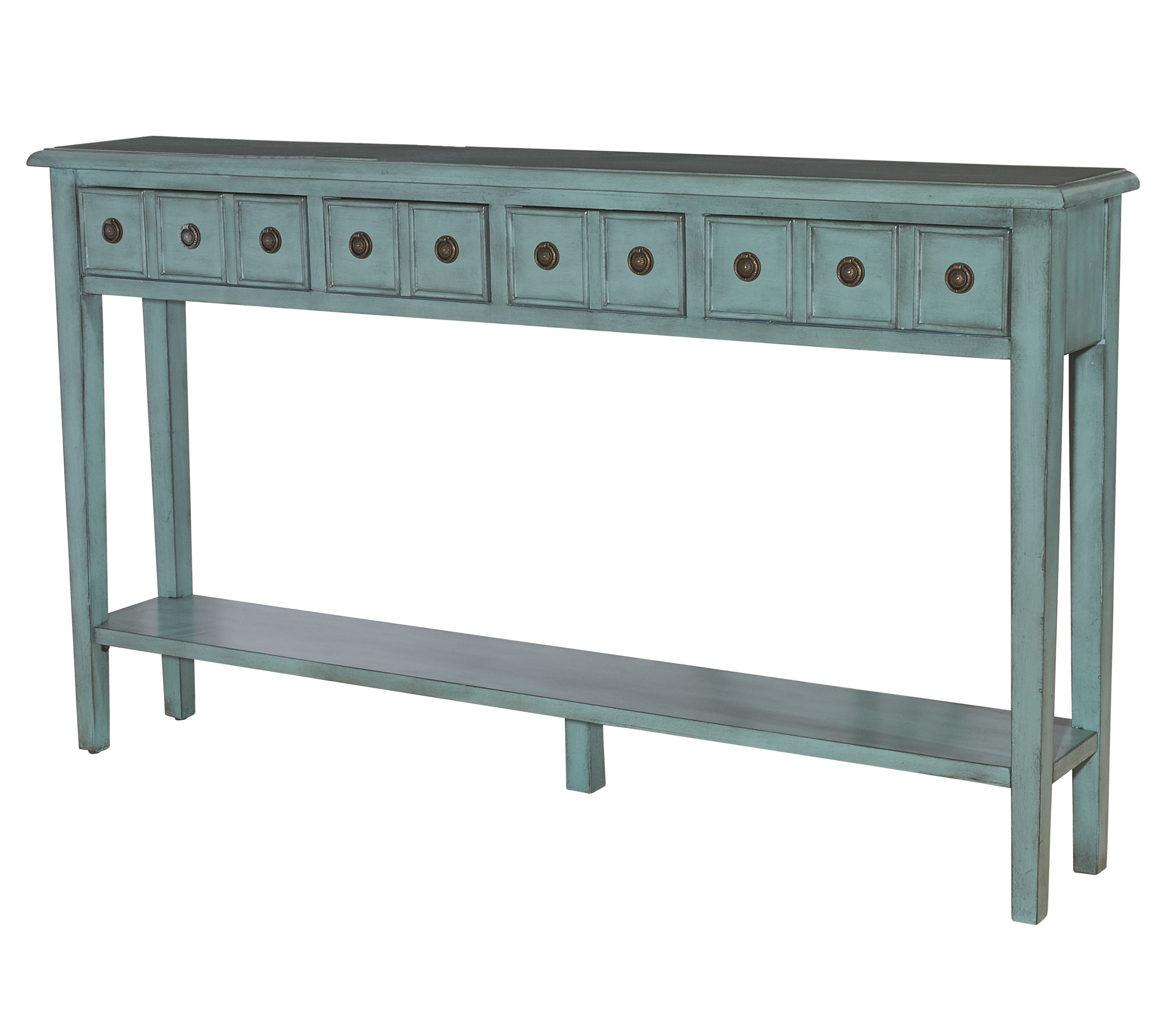 L Powell Sadie Teal Long Console Blue Entryway Console Table Console Table Entryway Console