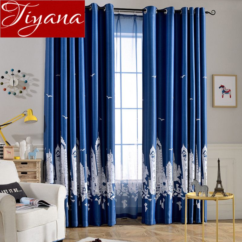 Cartoon Castle Blue Curtains Kids Room Sheer Voile Modern Window Living Room Curtians Tulle Curtains Living Room Curtains Living Room Modern Childrens Bedrooms