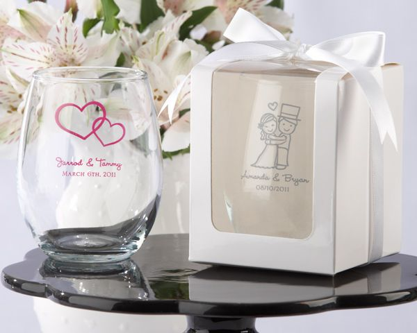 Personalized Wedding 9 Oz Stemless Wine Glass White Or Kraft Gift Box Available