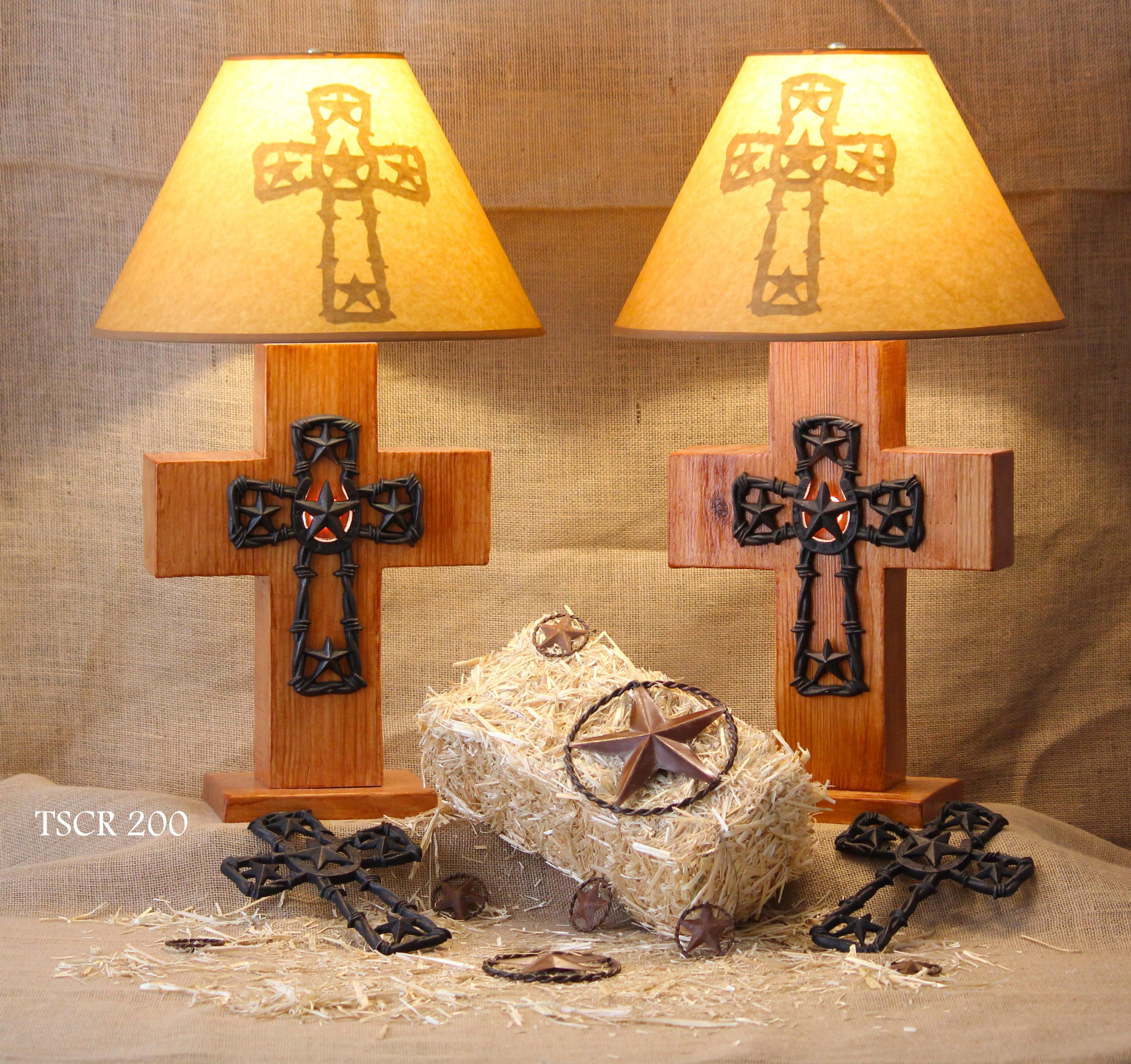 Texas Star Cross Lamp Has a 3 way switch to give you the option