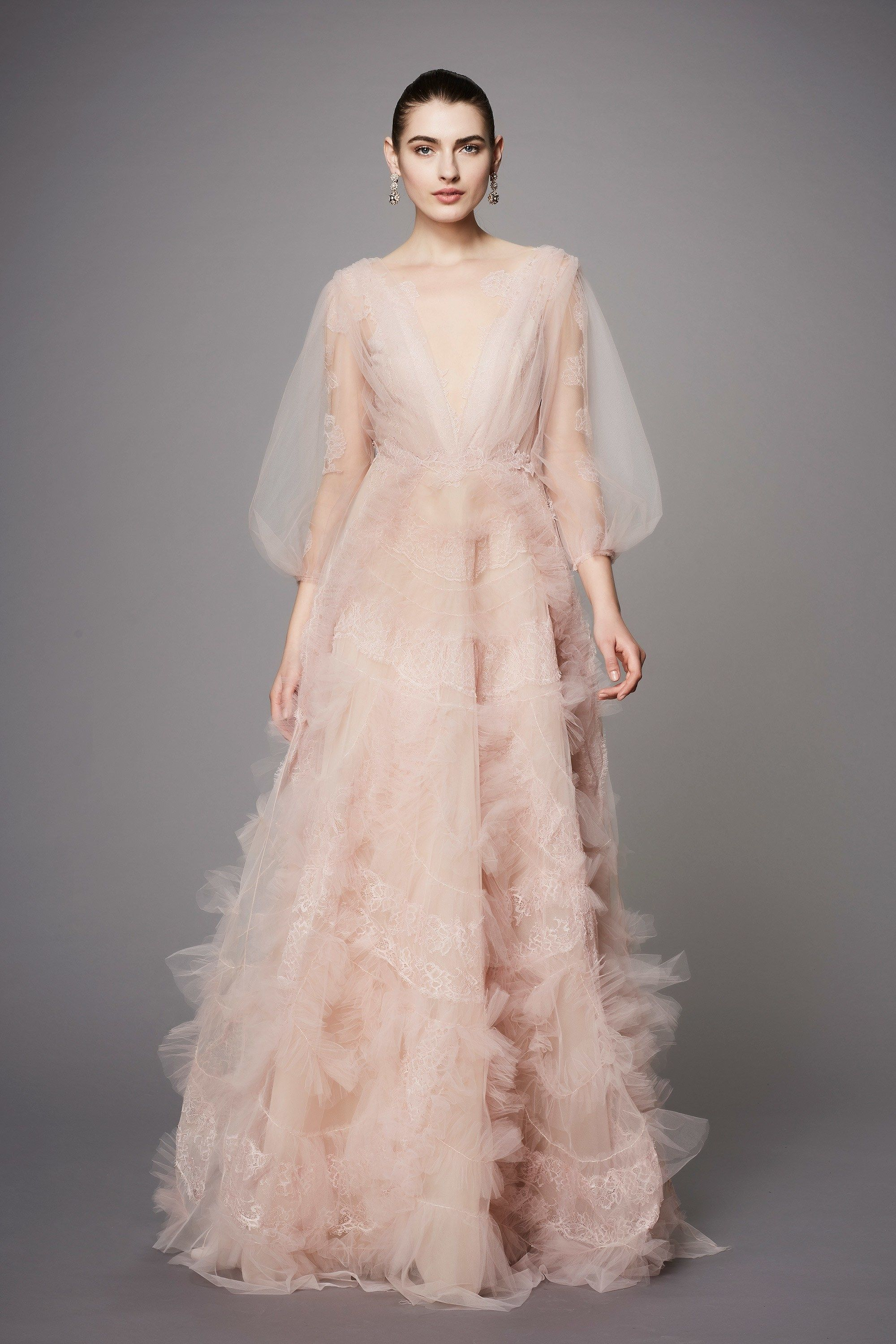 0a1aac3becd MARCHESA COUTURE PLUNGING V-NECK BALL GOWN, BLUSH | Marchesa ...