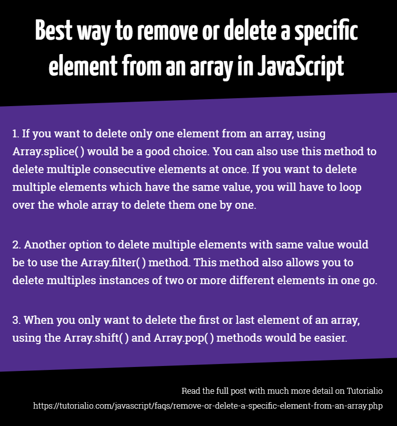 Best way to remove or delete a specific element from an array in JavaScript  | Javascript, How to remove, Web development