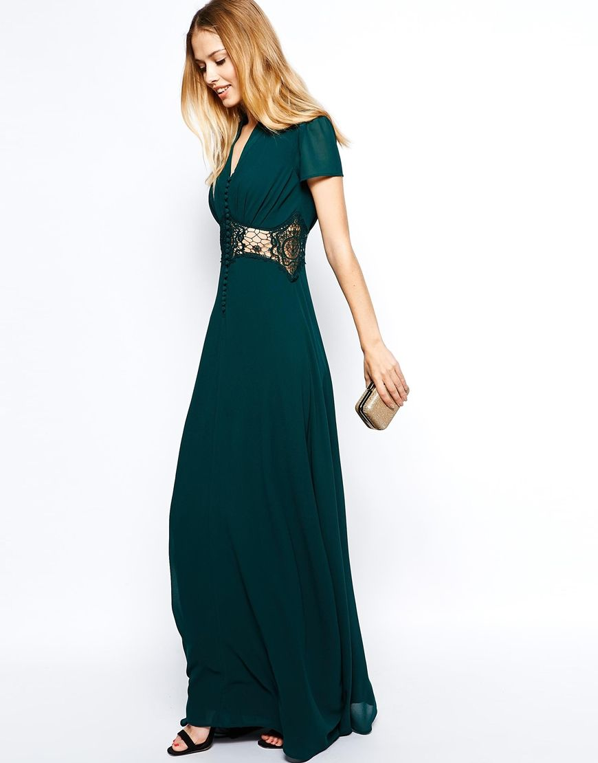 Jarlo kelly maxi dress with cap sleeve and lace insert trim