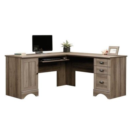 Pemberly Row L Shaped Computer Desk With Cpu Tower Storage Letter Legal File Drawer And Keyboard Tray In Salt Oak Walmart Com Corner Computer Desk Computer Desk Desk
