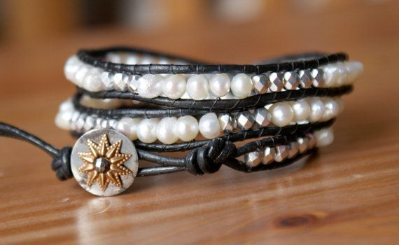 Bohemian beaded leather wrap bracelet white cream pearls