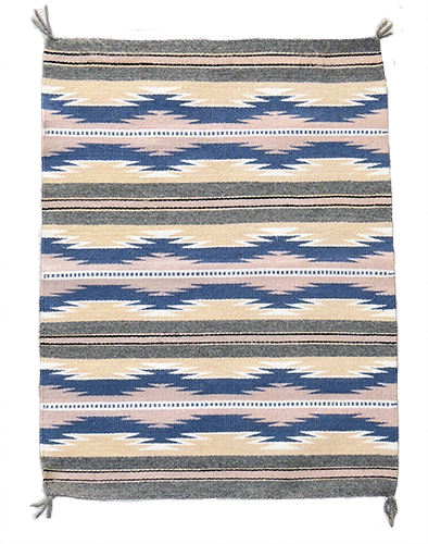 Navajo hand woven flat weave rug with the Crystal pattern