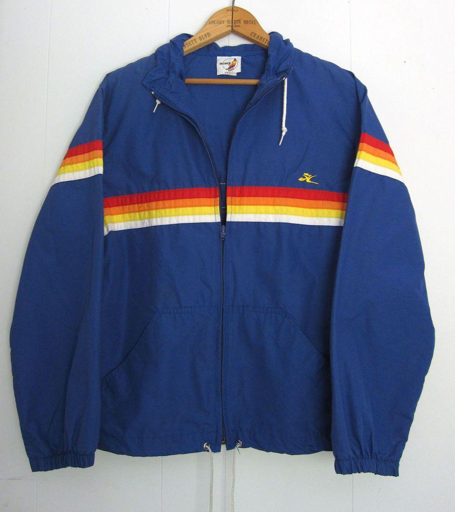 8eec996db039b Details about Vtg 80s 90s Hobie Blue Rainbow Striped Surf Hood Track ...