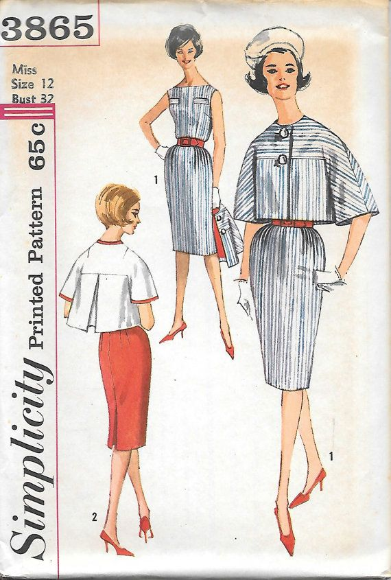 Simplicity 3865 - 1960 Fitted Dress with Boxey Jacket UNCUT Vintage Sewing Pattern Size 12 Bust 32 Jackie Kennedy