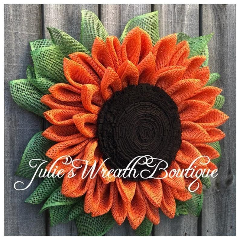 Photo of Sunflower wreath, burlap sunflower, front door wreaths, front door decor, summer wreath, sunflowers, autumn wreath, orange sunflower