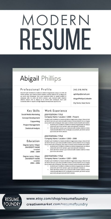 Modern Resume Template for use with Microsoft Word Resume tips