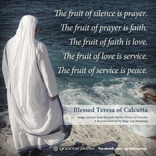 Mother Teresa Quote On Prayer | The fruit of silence is prayer