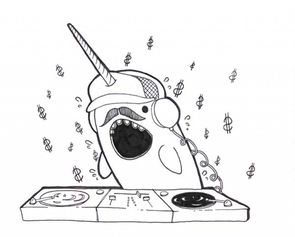 Funny Looking Narwhal Disc Jockey Coloring Pagejpg