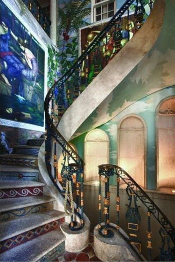 A stairwell in the former Versace mansion, Casa Casuarina.