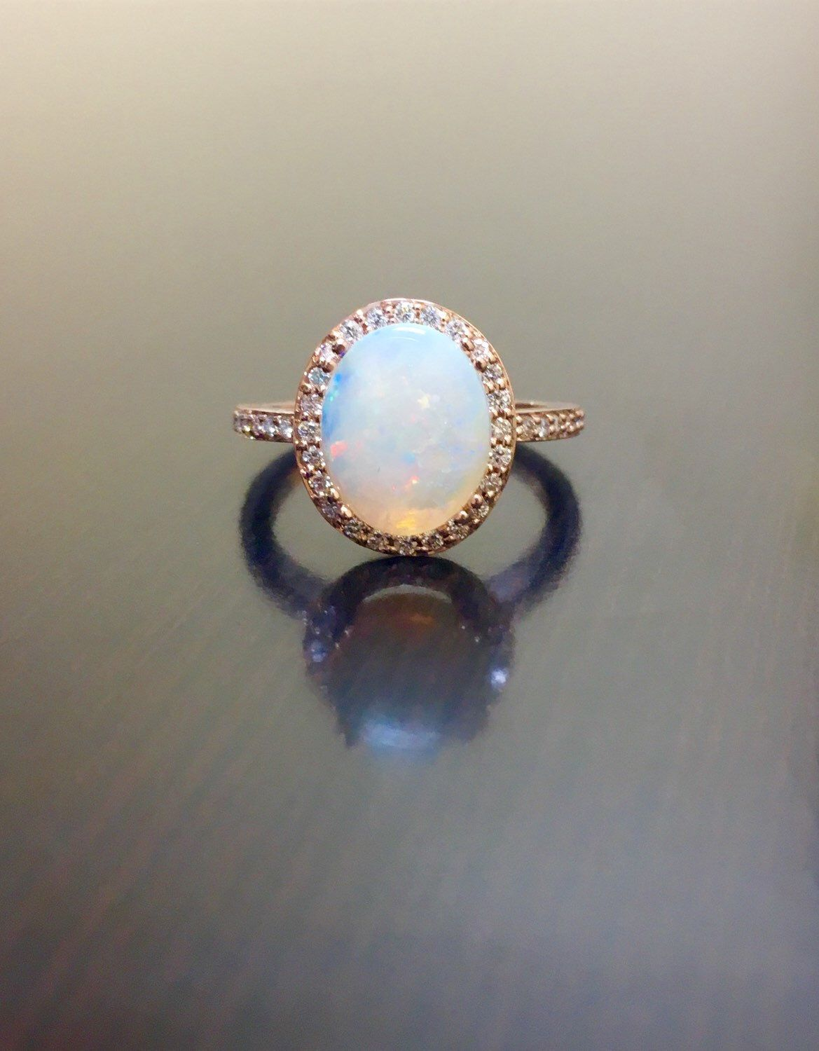 Idk If You Like Opals That Are Large? Rose Gold Halo Diamond Opal  Engagement Ring By DeKaraDesigns Dear Future Husband.