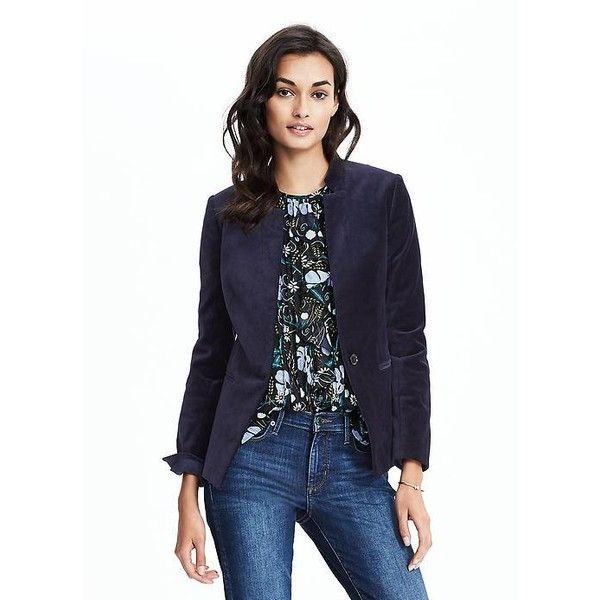 6294860aabe Banana Republic Womens One Button Velvet Blazer ( 178) ❤ liked on Polyvore  featuring outerwear