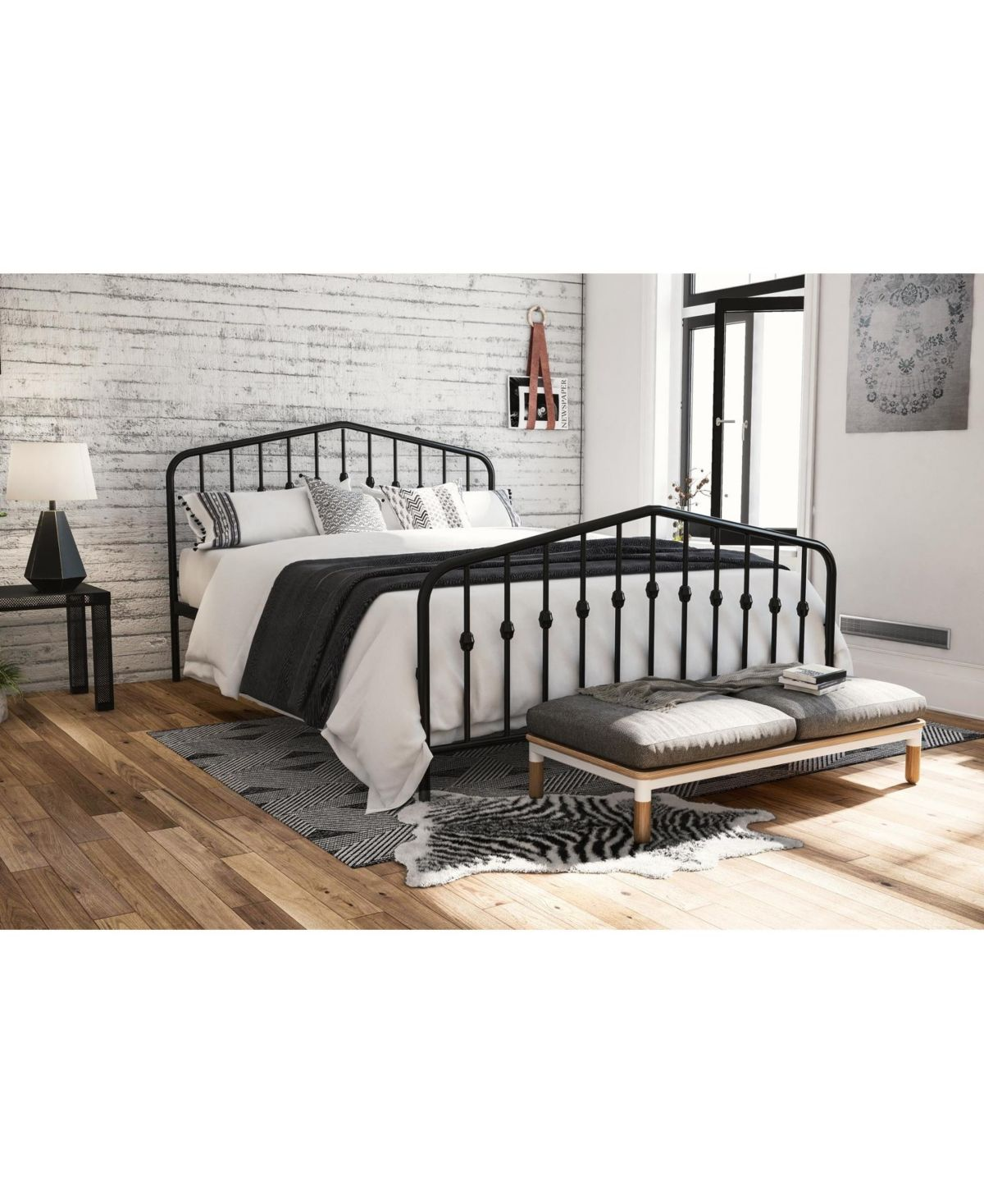 Novogratz Bushwick Full Metal Bed Black Furniture