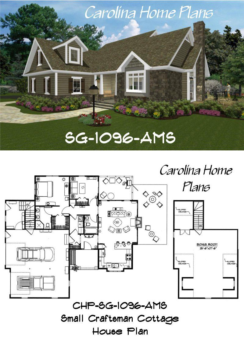 Small Craftsman Cottage House Plan Sg 1096 Ams With Bonus Room Above Garage Plan Comes With Base Bungalow House Plans Rustic House Plans Craftsman House Plans