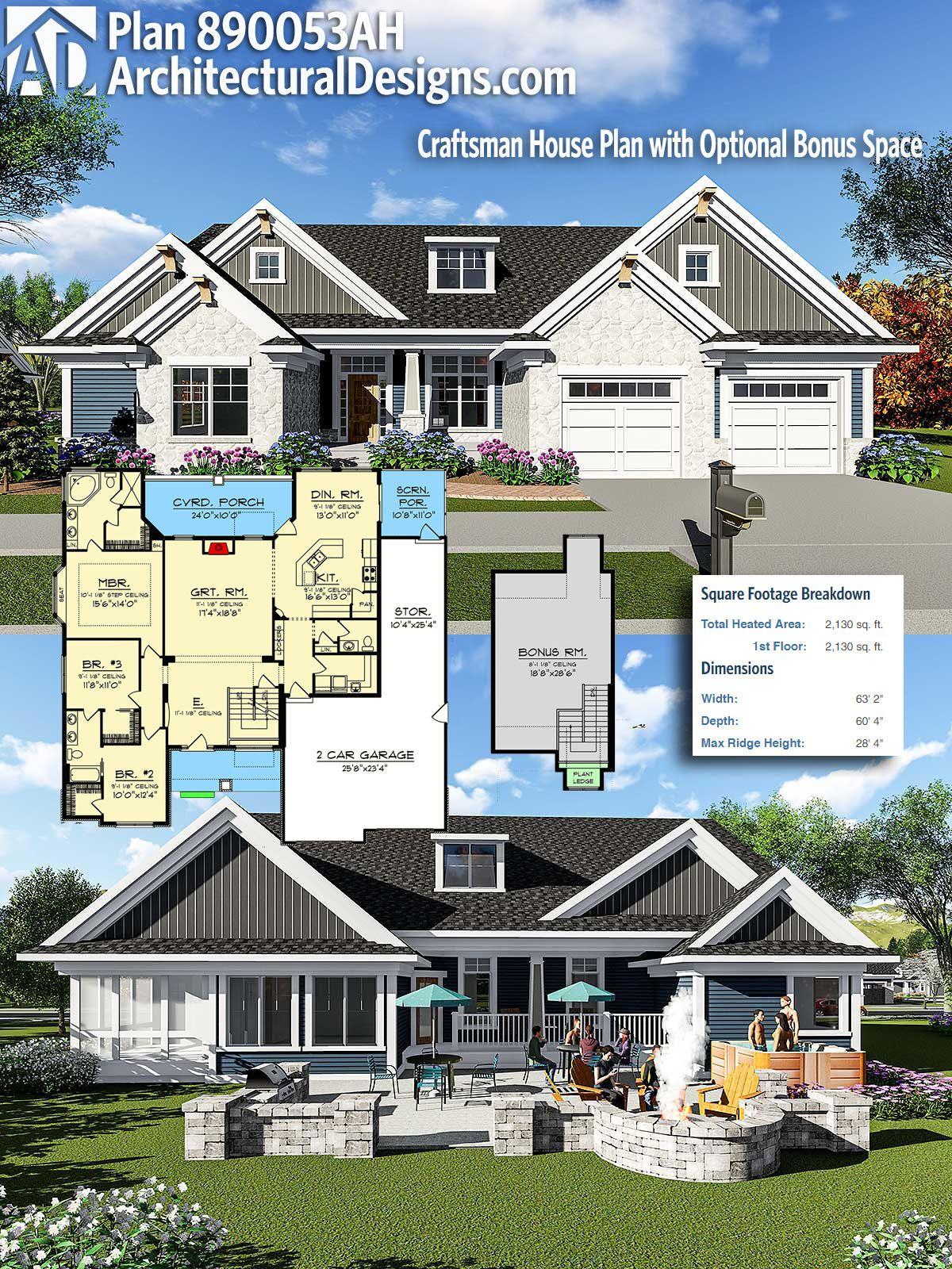 Plan 890053ah Craftsman House Plan With Optional Bonus Space Craftsman House Plans Craftsman House House Plans