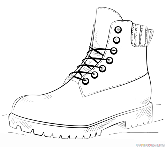 Line Art Logo Tutorial : How to draw a hiking boot step by drawing tutorials