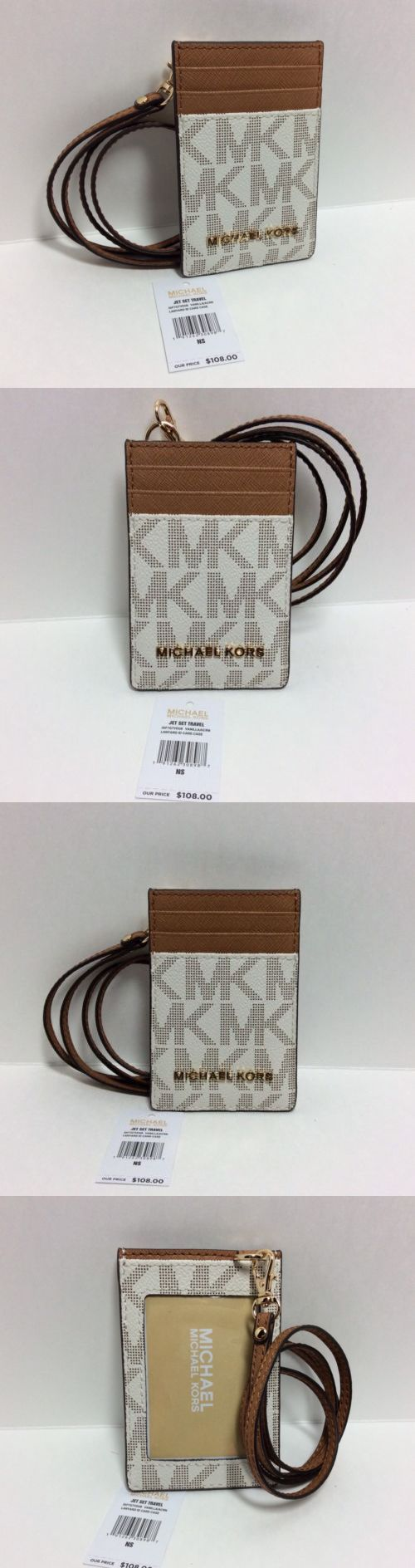 d150b7661e9d ID and Badge Holders 169287  New Michael Kors Jet Set Travel Pvc Lanyard Id  Card Case In Vanilla Acorn  108 -  BUY IT NOW ONLY   35 on eBay!