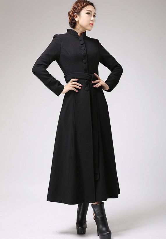 Black coat, dress coat, mandarin collar, long coat, womens jacket ...