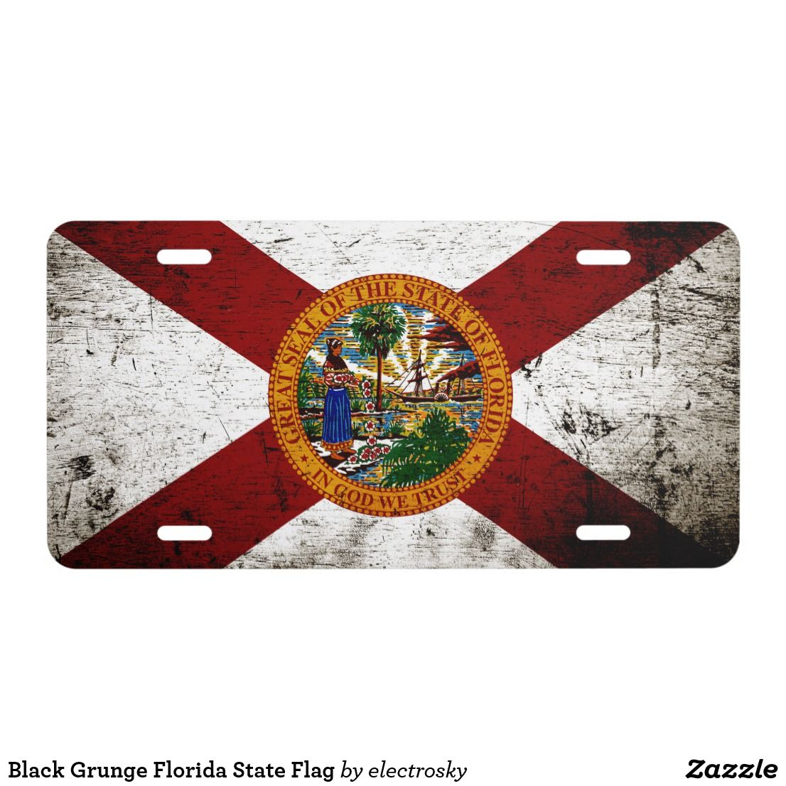 Black Grunge Florida State Flag License Plate Zazzle Com Florida State Flag State Flags Black Grunge