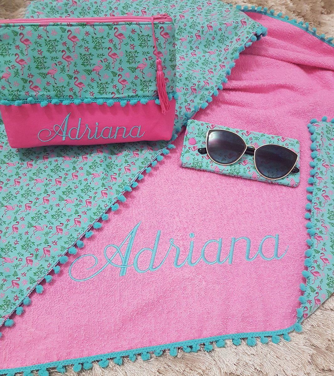 Kit Flamingos Canga toalha personalizada. Tecido estampado ...