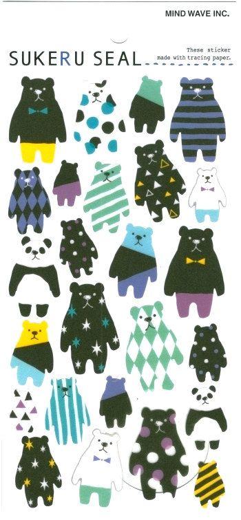 Patterned Bears Japanese Sticker - Happy planner - Journal - Scrapbook. by niconecozakkaya on Etsy