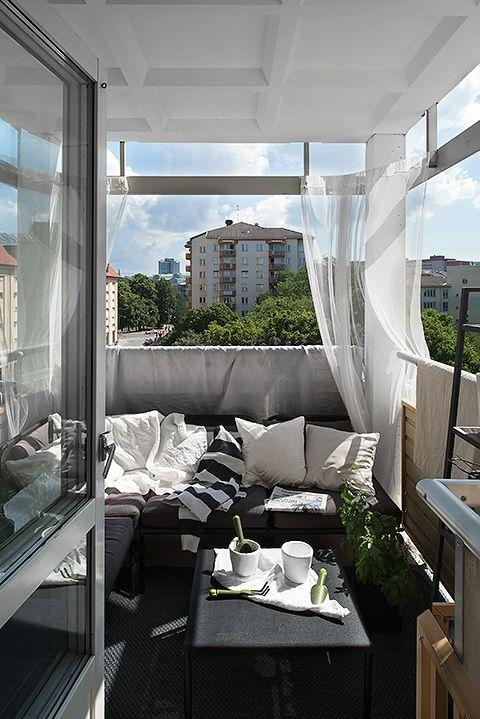 Apartamento Moderno Cortinas De Balcón Balcon Decoracion
