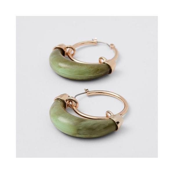Target Curved Resin Hoop Earrings – Milk Tortoise Shell – White