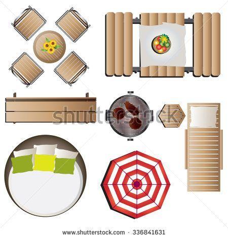 outdoor furniture top view set 12 for landscape design vector illustration