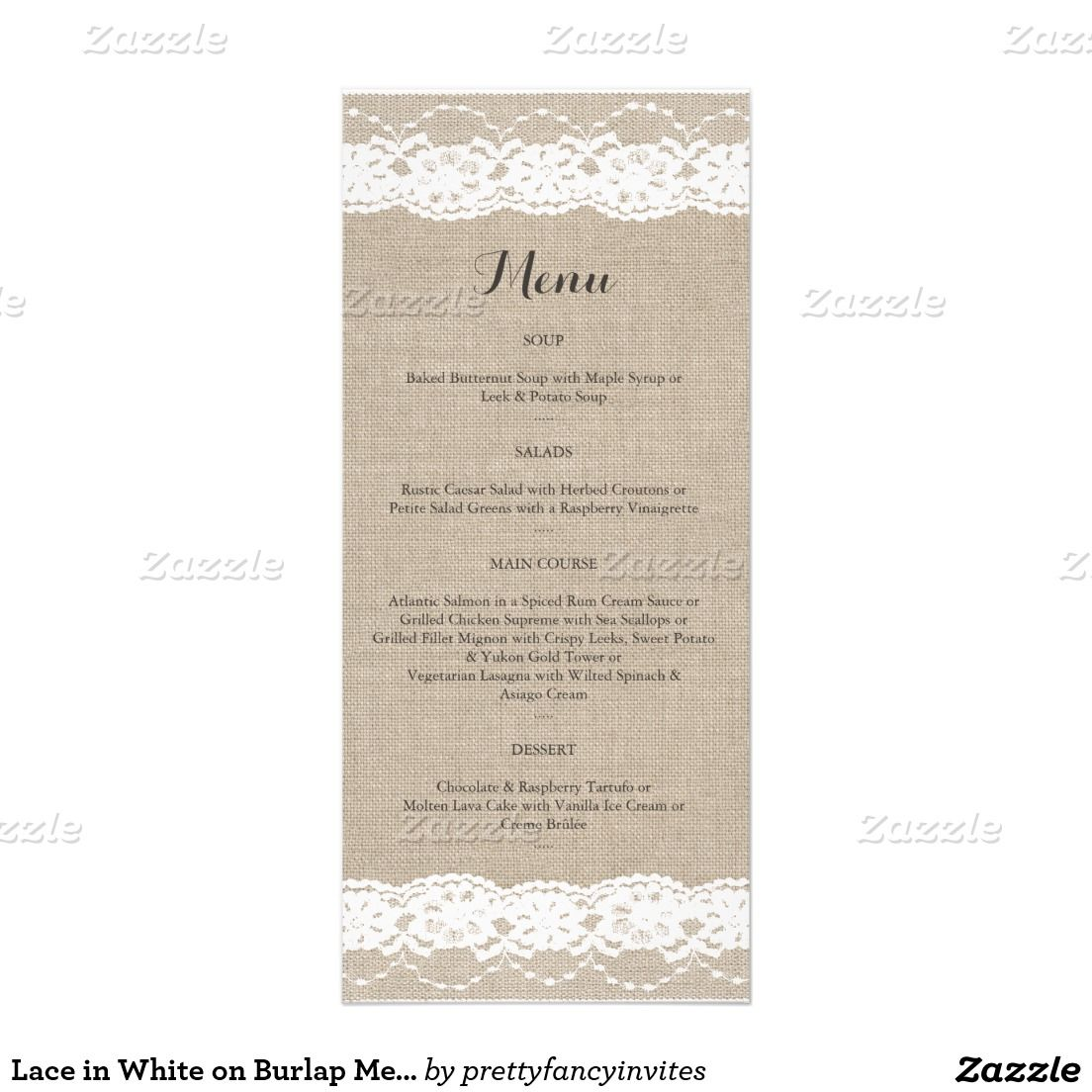 Lace in white on burlap menu anniversary party pinterest
