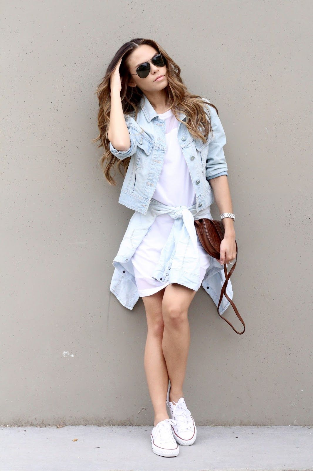White t shirt dress outfit - Styling Denim Jacket White T Shirt Dress